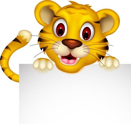 lindo bebé tigre presenta con la muestra Vectores