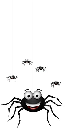 spider web: funny family of spider cartoon for you design