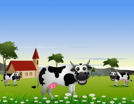 cute cow cartoon with landscape background Illustration