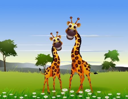 piebald: cute couple giraffe cartoon with landscape background Illustration