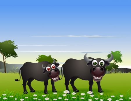ridiculous: buffalo cartoon with nature background Illustration