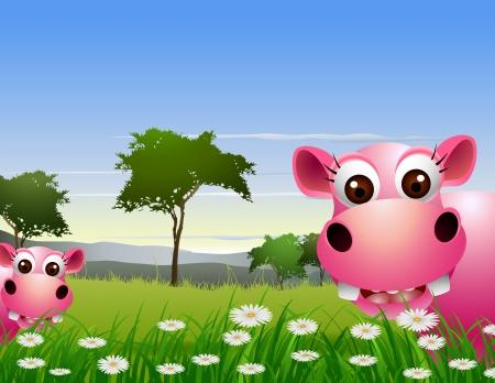 hipopotamo caricatura: linda pareja hipop�tamo de dibujos animados con el paisaje de fondo