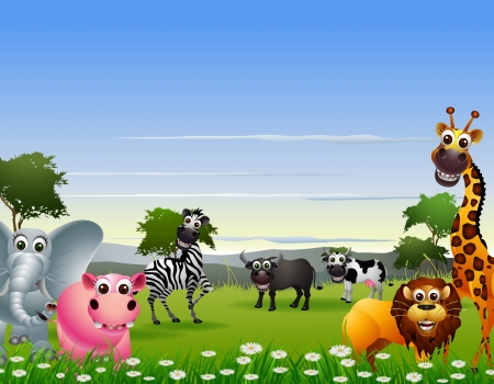 mandrill: animale divertente cartone animato con sfondo la natura Vettoriali