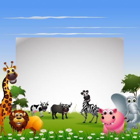 funny animal cartoon with nature background and blank sign Vector