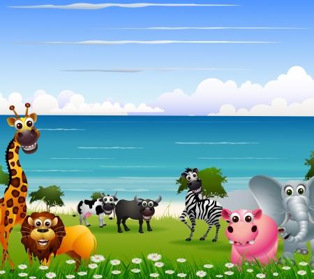 mandrill: animale divertente cartone animato con sfondo spiaggia