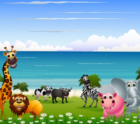 funny animal cartoon with beach background