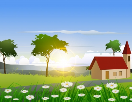 amazon forest: beauty nature background with house