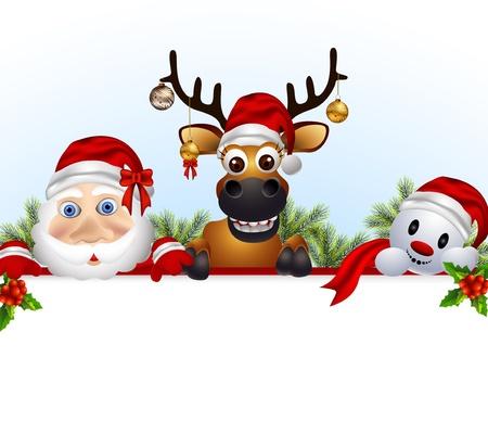 santa claus,deer,and snowman cartoon with blank sign