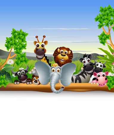 safari animal: animal cartoon with blank sign and tropical plant