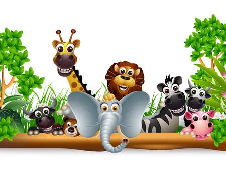 animal cartoon with blank sign and tropical plant Vector