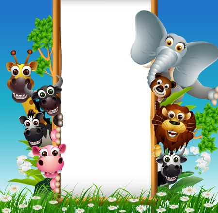 dier cartoon met lege bord en tropische planten