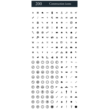 home icon: set of 200 construction icons Illustration
