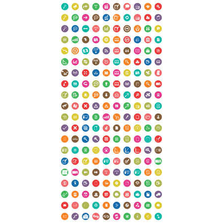 set of flat mobile icon colorful