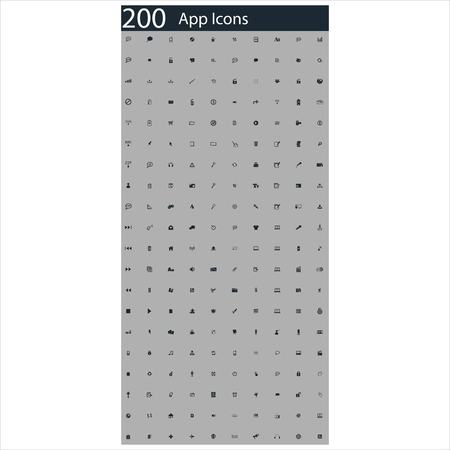 set of 200 app icons Illustration