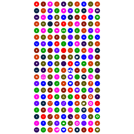 set of colorful mobile icons with circle Illustration