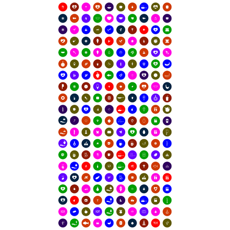 colorful mobile icons with circle