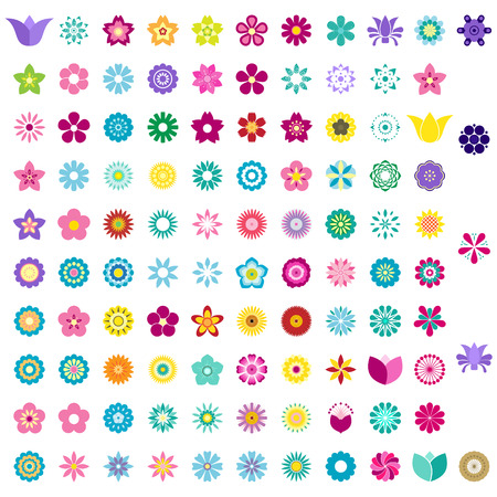 set of colorful flower icons Illustration