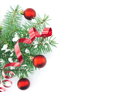 Frame Of Christmas Tree Branches With Red Baubles, Ribbon And ...