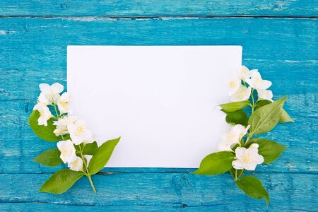 Frame of jasmine flowers on blue rustic wooden background with empty card for greeting message. Mothers Day and spring background concept. Holiday mock up. Top view.