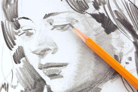 ni�os con l�pices: Dibujo de la ni�a por el l�piz de grafito