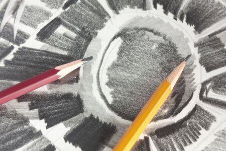 grafit: Rysunku przez grafitu Ołówek Zdjęcie Seryjne