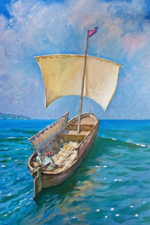 Drawing of boat is under sail, painting Stock Photo - 7037909