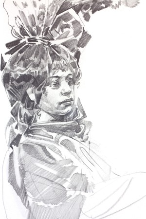 graphite: Drawing of girl by graphite pencil