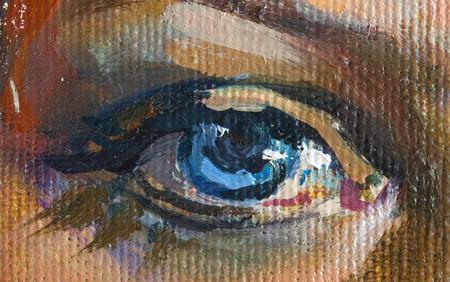 caritas pintadas: Dibujo de la ni�a, fragmentar, pintura