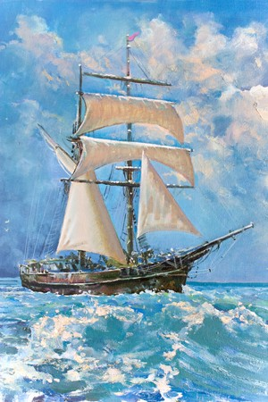Drawing of boat is under sail, painting photo