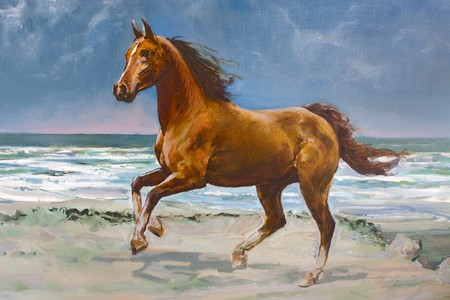 painting nature: Chestnut horse galloping on shore, fragment of painting Stock Photo
