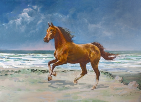 oil on canvas: Chestnut horse galloping on shore, painting