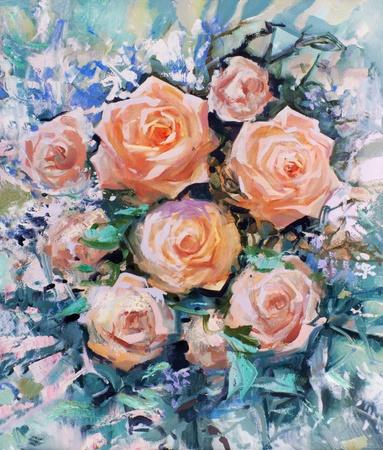 rosas naranjas: Hermosas rosas naranjas, pintura