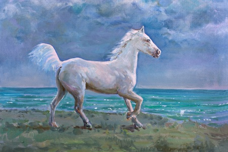 White horse galloping on shore, painting photo