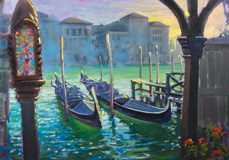 Two gondolas in the morning in Venice, Italy, painting photo