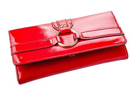 woman handle success: Red woman wallet isolated on white background