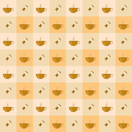 Seamless pattern with cup of coffee and coffee bean Illustration