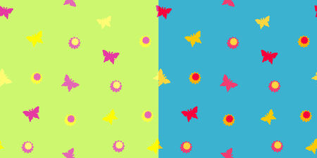 There are two seamless pattern with flowers and butterflies.
