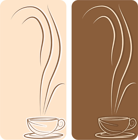 Two backgrounds with cup of coffee in brown colors Vector
