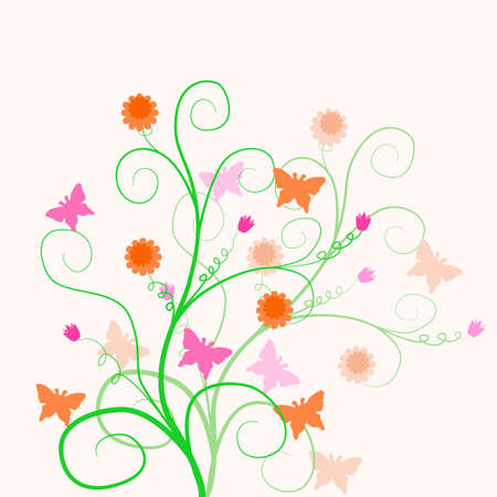Floral design with butterflies and flowers. Stock Vector - 9094313