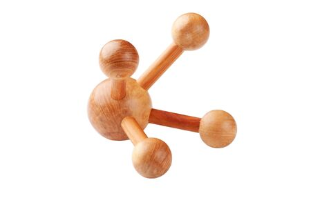 Wooden massager on a white background Stock Photo