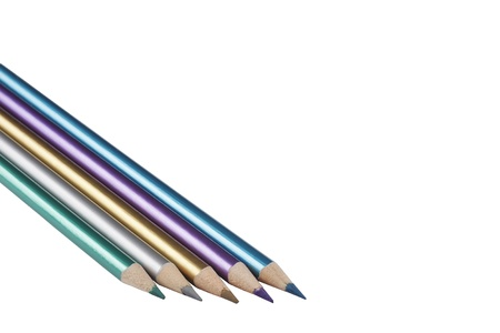 Five metalic color pencils on a white background. Stock Photo - 9587410