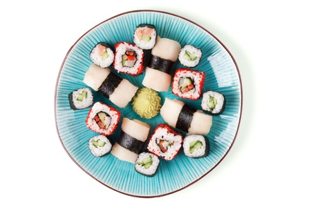 Sushi with vasabi on the blue plate. Stock Photo - 9587425