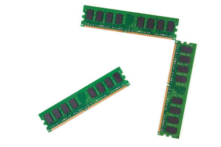 Three isolated microchips of DDR Random-Access Memory.