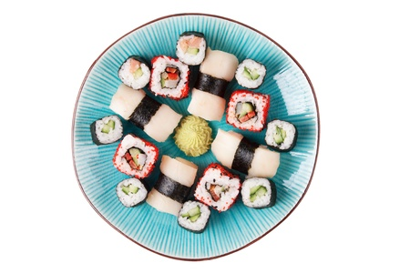 Sushi with vasabi on the blue plate. Stock Photo