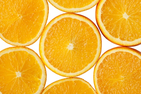 Bright background with sliced orange. Top view.