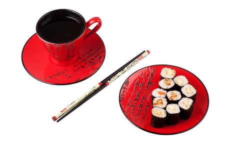 Sushi on the sauceer, chopsticks and the cup of tea.