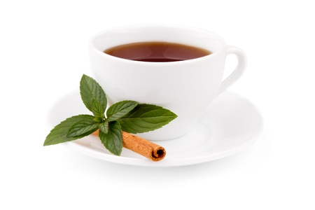 Photo of the cup of tea with mint and cinnamon Stock Photo