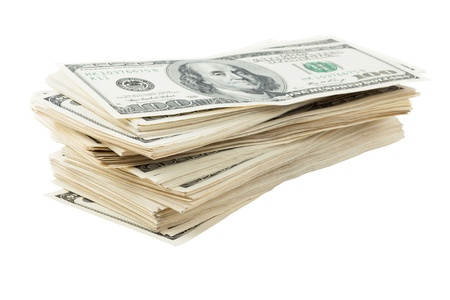Sloppy pile of dollars Stock Photo