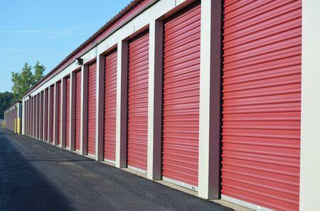 A line of storage unit doors