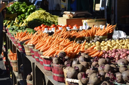 Organic healthy produce for sale at a local Farmers Market in rural Michigan, USA photo